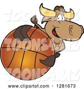 Vector Illustration of a Cartoon School Bull Mascot Holding up or Catching a Basketball by Toons4Biz