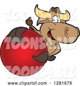 Vector Illustration of a Cartoon School Bull Mascot Holding up or Catching a Red Ball by Toons4Biz