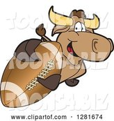 Vector Illustration of a Cartoon School Bull Mascot Holding up or Catching an American Football by Toons4Biz