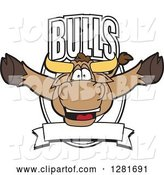 Vector Illustration of a Cartoon School Bull Mascot Leaping out of a Shield and Banner by Toons4Biz
