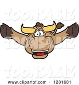 Vector Illustration of a Cartoon School Bull Mascot Leaping Outwards by Toons4Biz