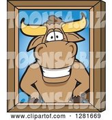 Vector Illustration of a Cartoon School Bull Mascot Portrait by Toons4Biz