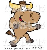 Vector Illustration of a Cartoon School Bull Mascot Running by Toons4Biz