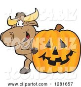 Vector Illustration of a Cartoon School Bull Mascot Smiling Around a Halloween Jackolantern Pumpkin by Toons4Biz