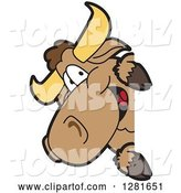 Vector Illustration of a Cartoon School Bull Mascot Smiling Around a Sign by Toons4Biz