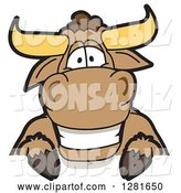Vector Illustration of a Cartoon School Bull Mascot Smiling over a Sign by Toons4Biz