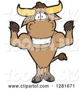 Vector Illustration of a Cartoon School Bull Mascot Standing and Flexing His Muscles by Toons4Biz