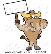 Vector Illustration of a Cartoon School Bull Mascot Standing and Holding a Blank Sign by Toons4Biz