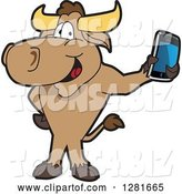 Vector Illustration of a Cartoon School Bull Mascot Standing and Holding a Smart Cell Phone by Toons4Biz