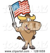 Vector Illustration of a Cartoon School Bull Mascot Standing and Holding an American Flag by Toons4Biz