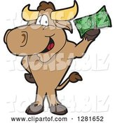 Vector Illustration of a Cartoon School Bull Mascot Standing and Holding Cash by Toons4Biz
