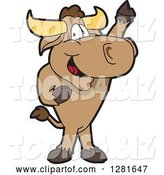 Vector Illustration of a Cartoon School Bull Mascot Standing and Holding up a Hoof by Toons4Biz