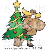 Vector Illustration of a Cartoon School Bull Mascot Standing and Looking Around a Christmas Tree by Toons4Biz