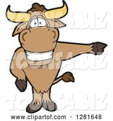 Vector Illustration of a Cartoon School Bull Mascot Standing and Pointing to the Right by Toons4Biz