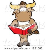 Vector Illustration of a Cartoon School Bull Mascot Standing and Reading a Book by Toons4Biz