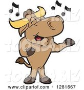 Vector Illustration of a Cartoon School Bull Mascot Standing and Singing by Toons4Biz