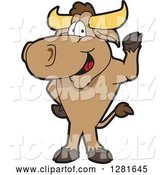Vector Illustration of a Cartoon School Bull Mascot Standing and Waving by Toons4Biz