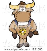 Vector Illustration of a Cartoon School Bull Mascot Standing and Wearing a Sports Medal by Toons4Biz