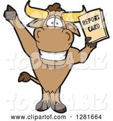 Vector Illustration of a Cartoon School Bull Mascot Standing, Cheering and Holding a Report Card by Toons4Biz