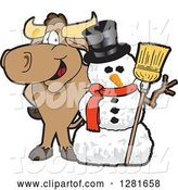 Vector Illustration of a Cartoon School Bull Mascot Standing with a Christmas Snowman by Toons4Biz