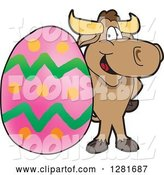 Vector Illustration of a Cartoon School Bull Mascot Standing with a Giant Easter Egg by Toons4Biz