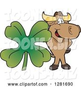 Vector Illustration of a Cartoon School Bull Mascot Standing with a Giant Four Leaf St Patricks Day Clover Shamrock by Toons4Biz