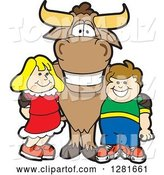 Vector Illustration of a Cartoon School Bull Mascot Standing with a White Boy and Girl by Toons4Biz