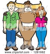 Vector Illustration of a Cartoon School Bull Mascot Standing with a White Guy and Lady by Toons4Biz