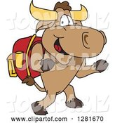 Vector Illustration of a Cartoon School Bull Mascot Student Walking Upright by Toons4Biz