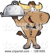 Vector Illustration of a Cartoon School Bull Mascot Waiter Standing with a Cloche Platter by Toons4Biz