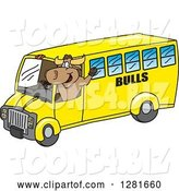 Vector Illustration of a Cartoon School Bull Mascot Waving and Driving a School Bus by Toons4Biz