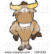 Vector Illustration of a Cartoon School Bull Mascot with His Hands on His Hips by Toons4Biz