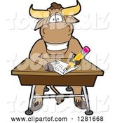 Vector Illustration of a Cartoon School Bull Mascot Writing at a Desk by Toons4Biz