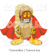 Vector Illustration of a Cartoon Scrub Brush Mascot Dressed As a Super Hero by Toons4Biz