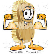 Vector Illustration of a Cartoon Scrub Brush Mascot Flexing His Strong Bicep Arm Muscles by Toons4Biz