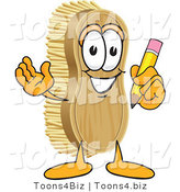 Vector Illustration of a Cartoon Scrub Brush Mascot Holding a Pencil by Toons4Biz