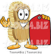 Vector Illustration of a Cartoon Scrub Brush Mascot Holding a Red Sales Price Tag by Toons4Biz