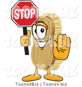 Vector Illustration of a Cartoon Scrub Brush Mascot Holding a Stop Sign by Toons4Biz