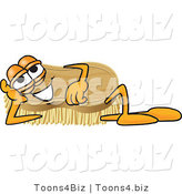 Vector Illustration of a Cartoon Scrub Brush Mascot Lying on His Side and Resting His Head on His Hand by Toons4Biz