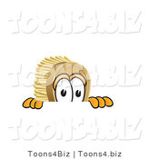 Vector Illustration of a Cartoon Scrub Brush Mascot Peeking over a Surface by Toons4Biz