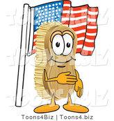 Vector Illustration of a Cartoon Scrub Brush Mascot Pledging Allegiance to the American Flag by Toons4Biz