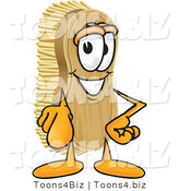 Vector Illustration of a Cartoon Scrub Brush Mascot Pointing Outwards at the Viewer by Toons4Biz