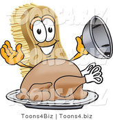 Vector Illustration of a Cartoon Scrub Brush Mascot Serving a Cooked Thanksgiving Turkey on a Platter by Toons4Biz