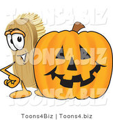 Vector Illustration of a Cartoon Scrub Brush Mascot Standing by a Carved Halloween Pumpkin by Toons4Biz