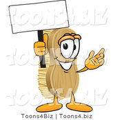 Vector Illustration of a Cartoon Scrub Brush Mascot Waving a Blank White Advertising Sign by Toons4Biz