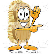 Vector Illustration of a Cartoon Scrub Brush Mascot Waving and Pointing to the Right by Toons4Biz