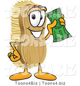 Vector Illustration of a Cartoon Scrub Brush Mascot Waving Cash in the Air by Toons4Biz