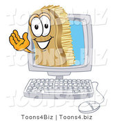 Vector Illustration of a Cartoon Scrub Brush Mascot Waving from Inside a Computer Screen by Toons4Biz