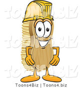 Vector Illustration of a Cartoon Scrub Brush Mascot Wearing a Yellow Hardhat Helmet by Toons4Biz