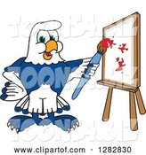 Vector Illustration of a Cartoon Seahawk Mascot Artist Painting on a Canvas by Toons4Biz